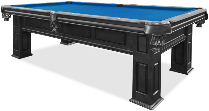 Order Your Dream Pool Table Now From The Largest Retailer In Canada - Black pool table with blue felt